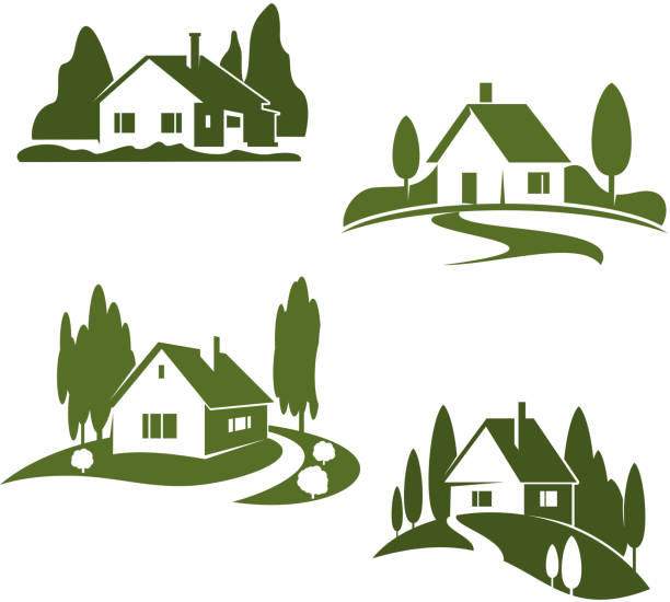 Vector green house farm forest icons vector art illustration