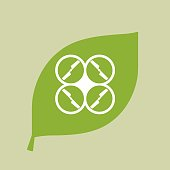 Vector green leaf icon with a drone
