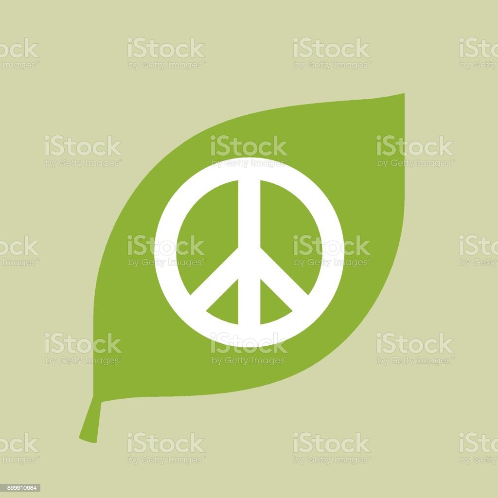 Vector green leaf icon with a peace sign vector art illustration