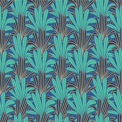 Vector green leaves, palms blue seamless pattern