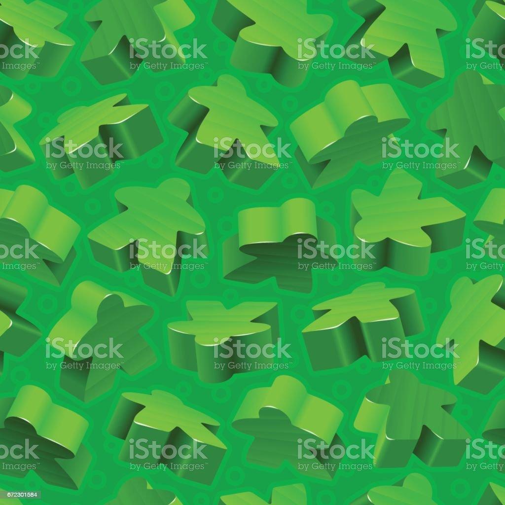 Vector green meeples seamless pattern vector art illustration