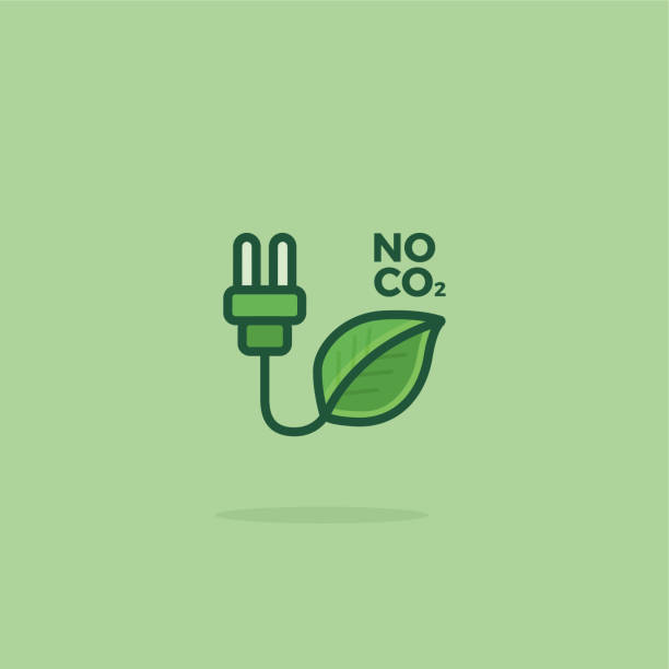 Vector Green Plug with Leaf Icon vector art illustration