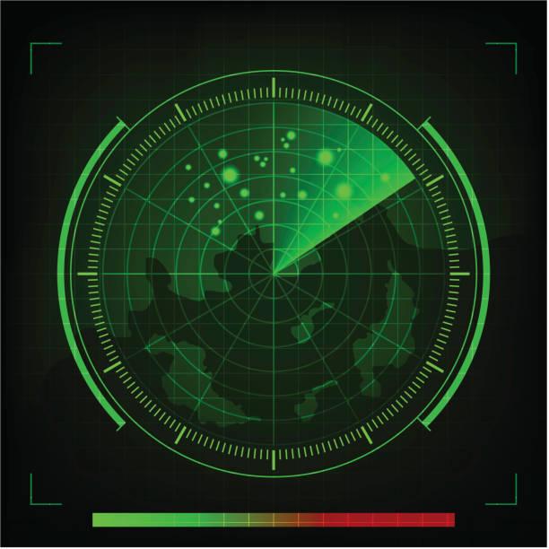 vector green radar in searching on black background - radar stock illustrations