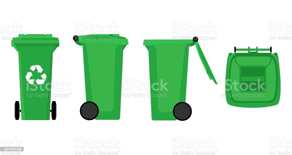 Vector Green Recycle Bin for Trash and Garbage Isolated on White Background royalty-free vector green recycle bin for trash and garbage isolated on white background stock illustration - download image now