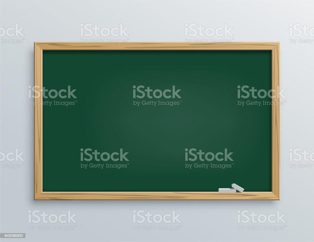 Lousa de escola vetor verde com pedaços de giz. - ilustração de arte em vetor