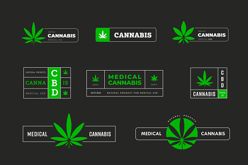 Vector green stickers with indica and sativa. Graphic logo design with marijuana leaf.