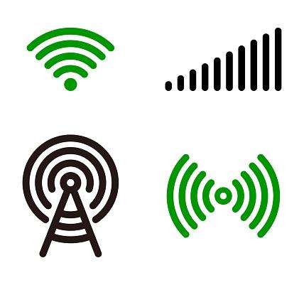 Vector green Wifi symbol icon set