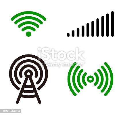Vector green Wifi symbol icon set