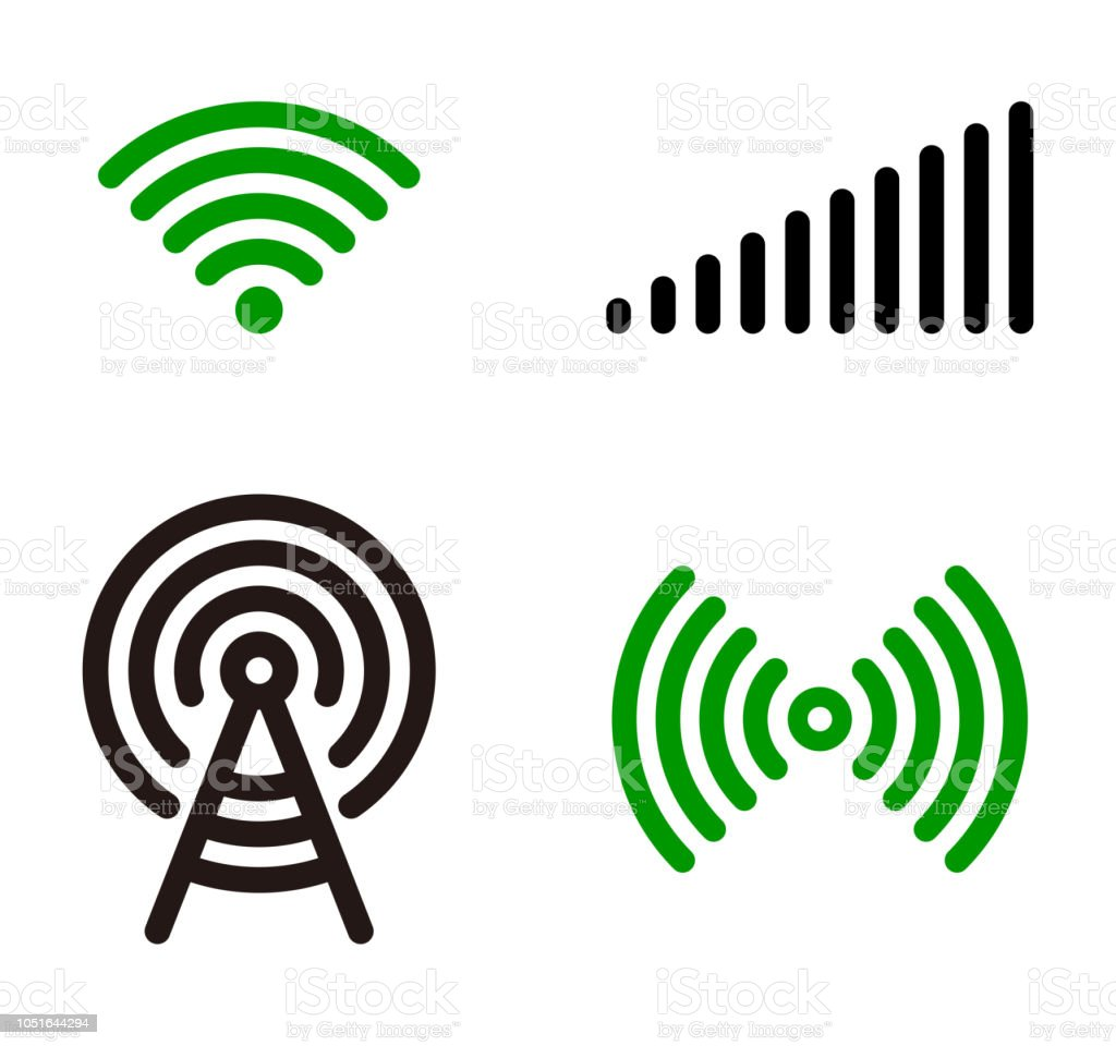 Vector green Wifi symbol icon set vector art illustration