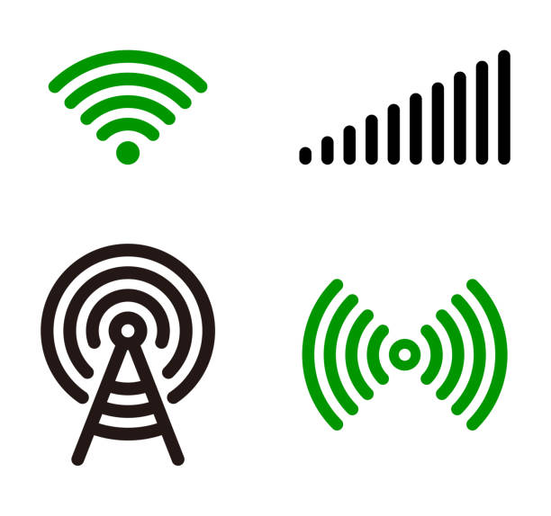 vector green wifi symbol icon set - wave pattern stock illustrations