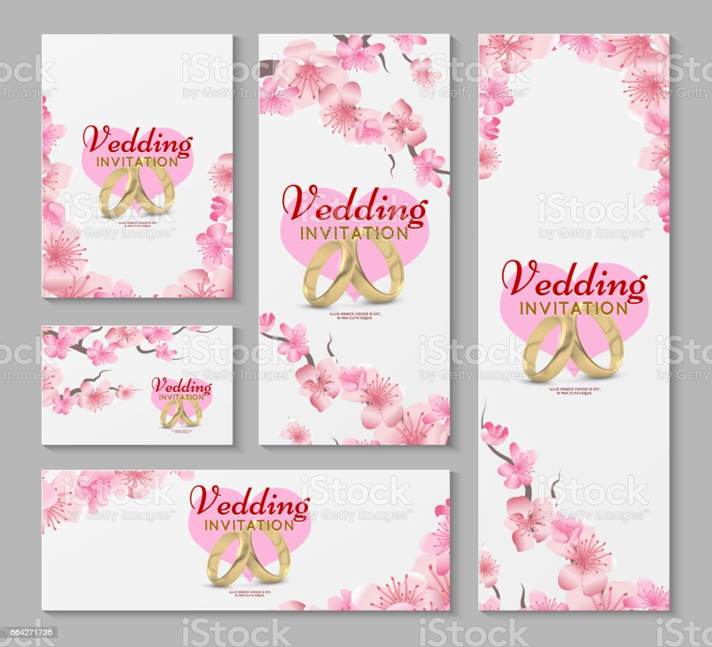 Vector greeting and wedding invitation cards with japanese sakura vector greeting and wedding invitation cards with japanese sakura cherry blossom flowers royalty free m4hsunfo