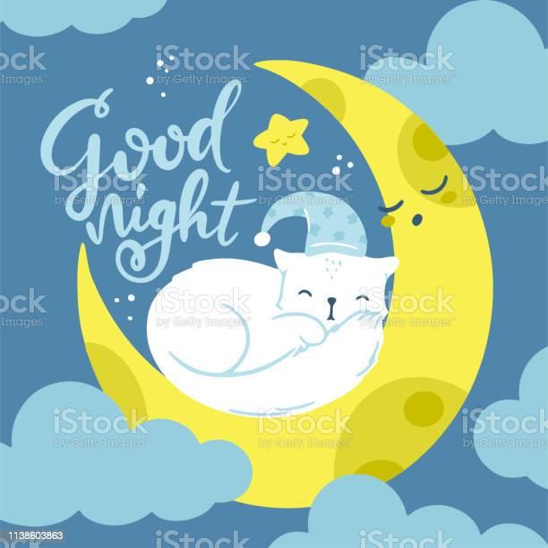 Vector greeting card cute sleeping baby kitten in blue hat on a moon vector id1138603863?b=1&k=6&m=1138603863&s=612x612&h=0gubltsoykhq pd0aplxt3ap75tsuvb2gtbegemjxtu=