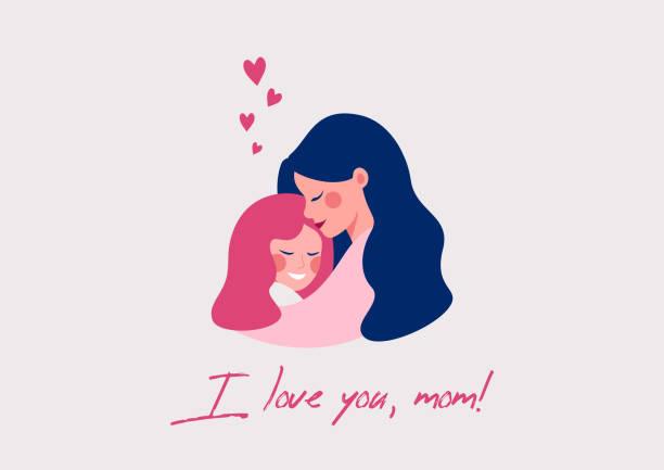 ilustraciones, imágenes clip art, dibujos animados e iconos de stock de tarjeta de felicitación vectorial para el día de la madre feliz de linda madre joven abrazando a su hija con amor. - hija