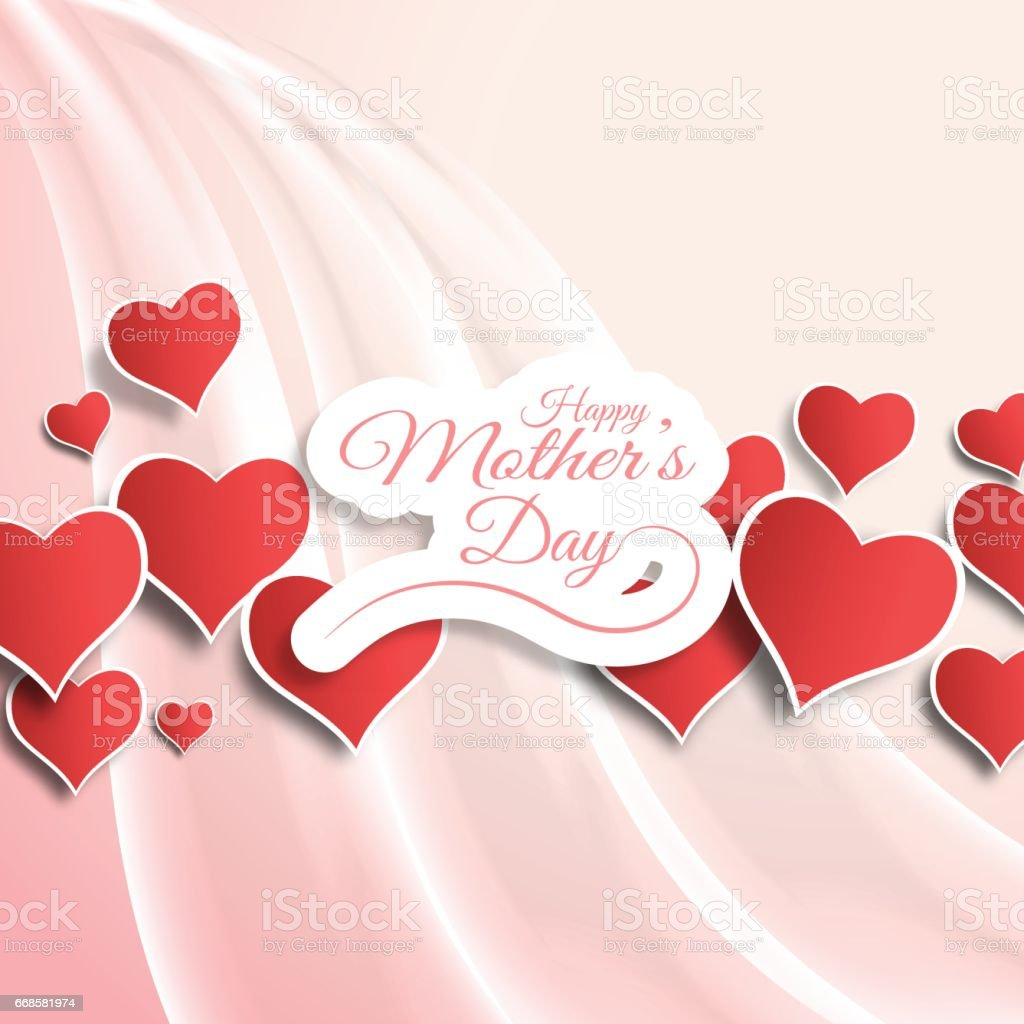 vector greeting card for happy mothers day with waves red heart