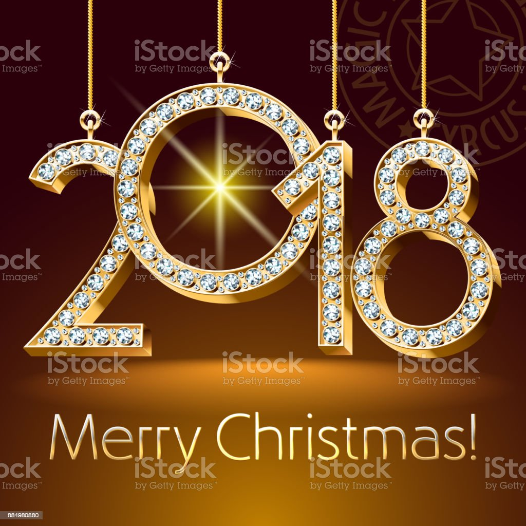 Vector Greeting Card For Merry Christmas With Brilliant Toys 2018