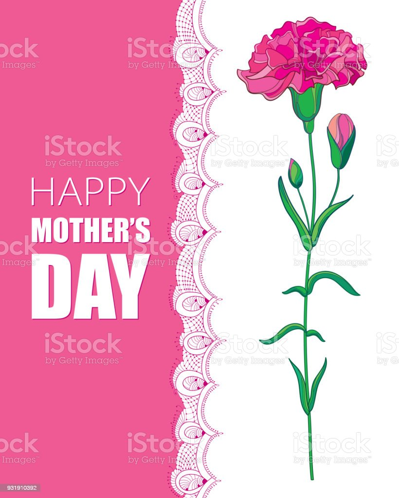 Vector Greeting Card For Mother Day With Pink Carnation Or Clove