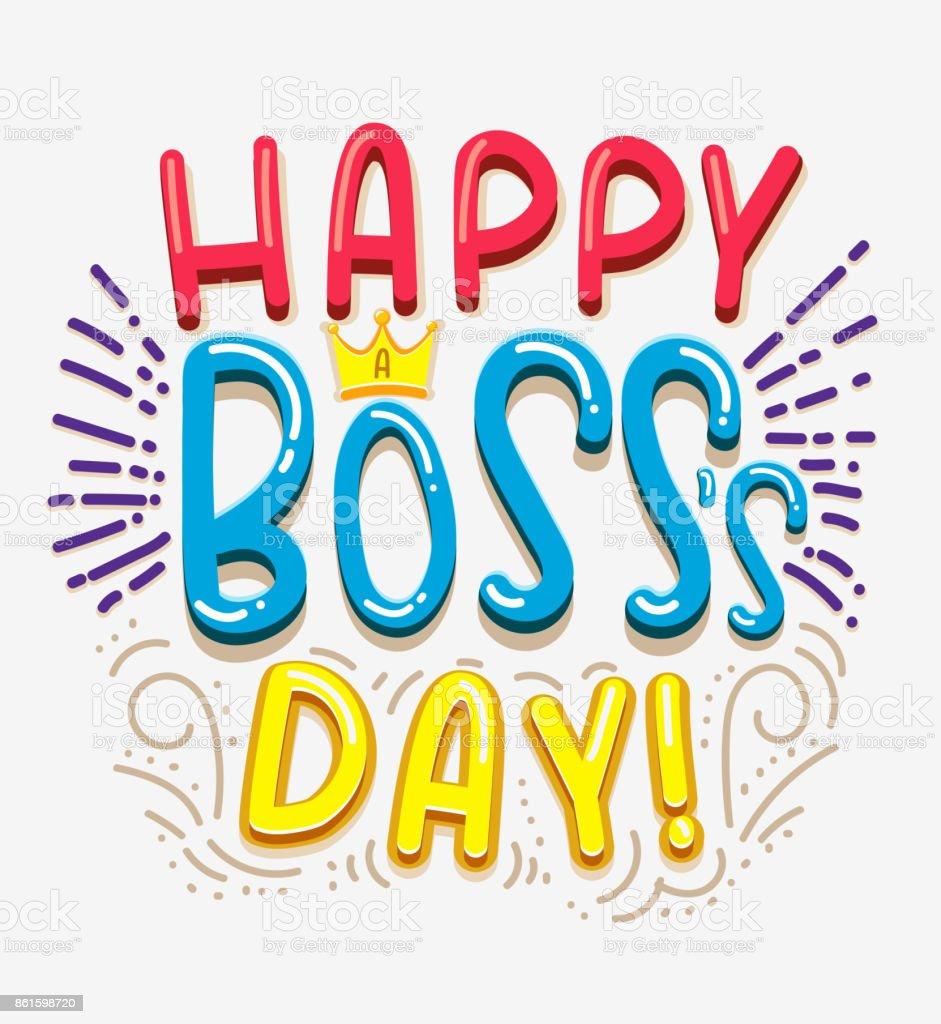 Vector greeting card Happy boss day