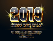Vector Greeting Card Happy New Year 2019 with luxury Font