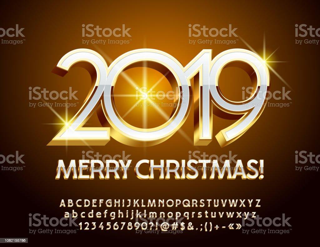 Frohe Weihnachten 3d.Vektorgrusskarte Frohe Weihnachten 2019 Mit Luxus 3d Schrift Stock