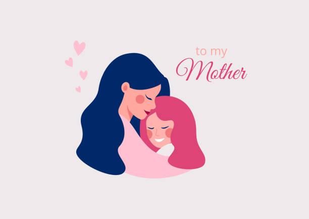 illustrazioni stock, clip art, cartoni animati e icone di tendenza di vector greeting card of cute young mother embracing her daughter with love. - couple portrait caucasian