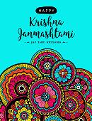 Vector greeting card, poster, illustration or banner for indian festival of Happy Kishna Janmashtami celebration.