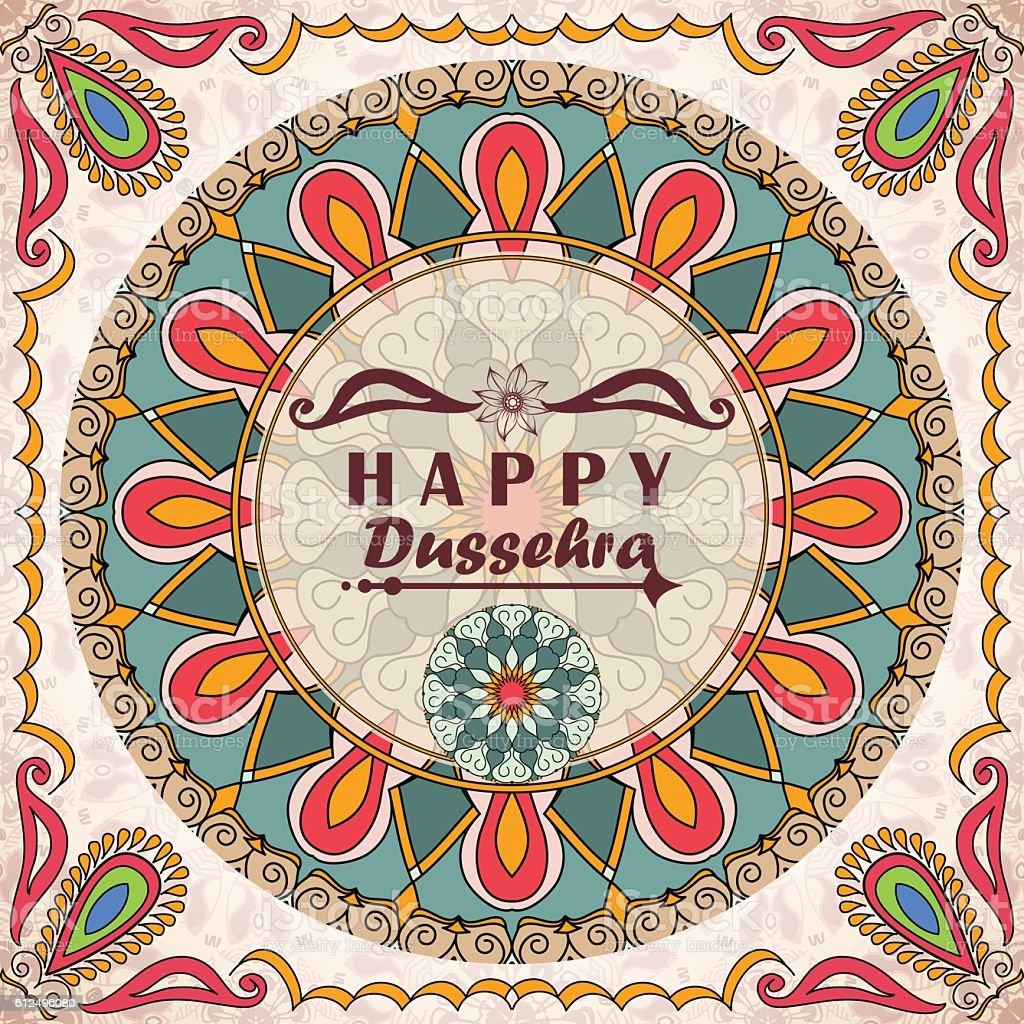 Vector Greeting Card To Indian Festival Vijayadashami Happy Dussehra