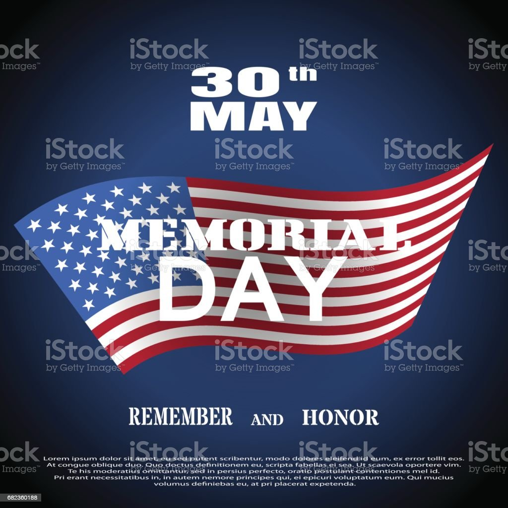 Vector greeting card to Memorial Day with white text and shadow on the dark blue background with american flag. vector greeting card to memorial day with white text and shadow on the dark blue background with american flag - stockowe grafiki wektorowe i więcej obrazów ciemny royalty-free