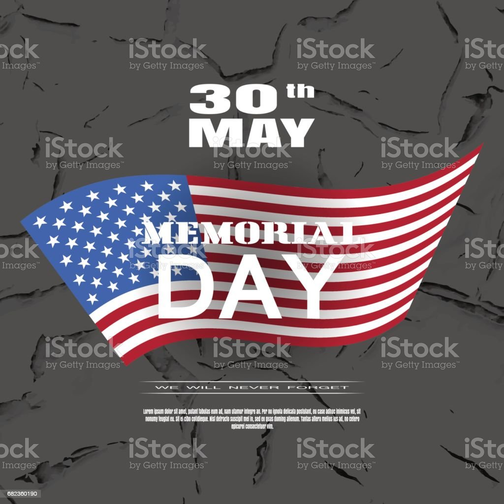 Vector greeting card to Memorial Day with white text and shadow on the dark brown background with american flag and pattern of cracked paint. vector greeting card to memorial day with white text and shadow on the dark brown background with american flag and pattern of cracked paint - immagini vettoriali stock e altre immagini di a forma di stella royalty-free
