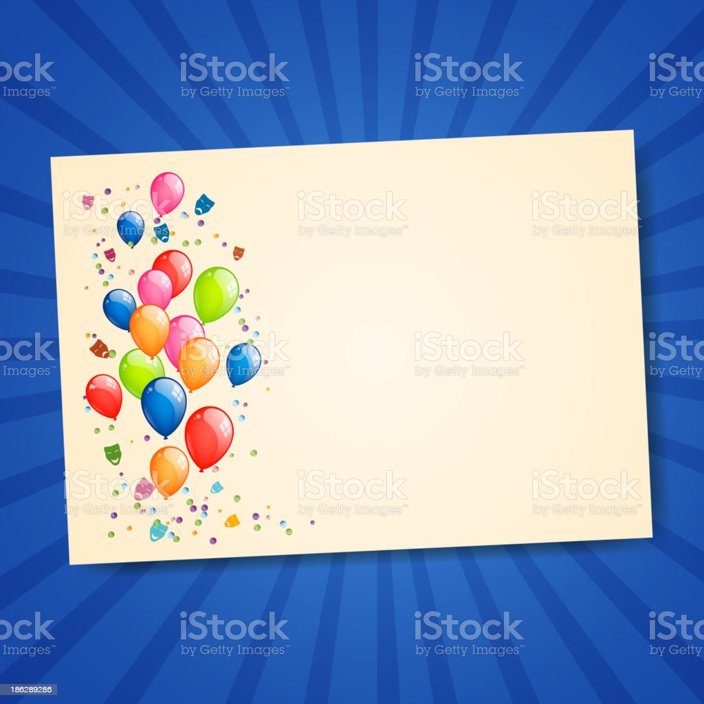Vector Greeting Card with Colorful Balloons royalty-free stock vector art