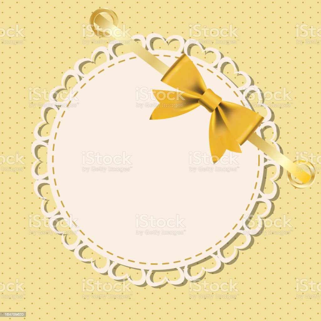 Vector greeting card with frame and bow. royalty-free stock vector art