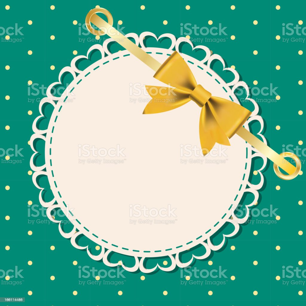 Vector greeting card with frame and bow. vector art illustration