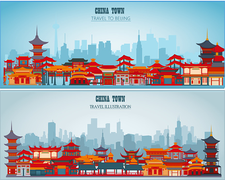 Vector greeting cards with Chinese traditional buildings and gates