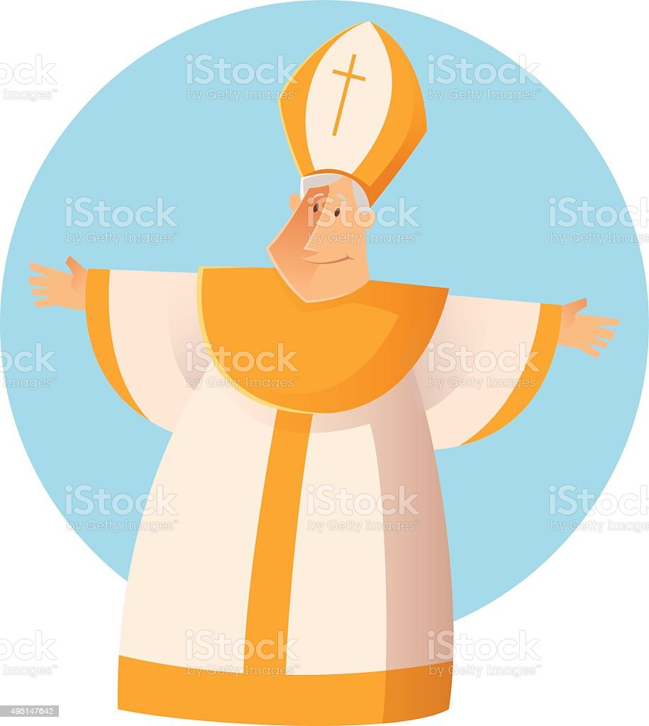 Vector Greeting Pope vector art illustration