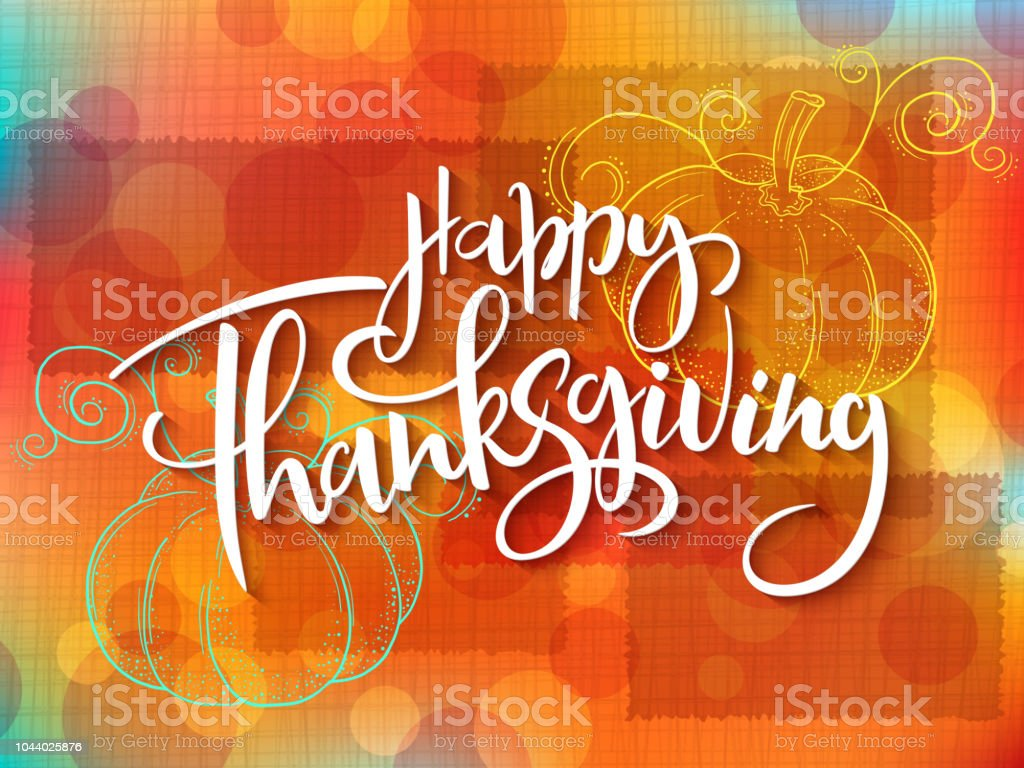 Vector greeting thanksgiving banner with hand lettering label - happy thanksgiving - with doddle pumpkin vector art illustration