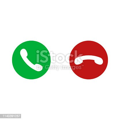 Vector gren and red phone buttons isolated on white background. For design telefon website or mobile. EPS 10