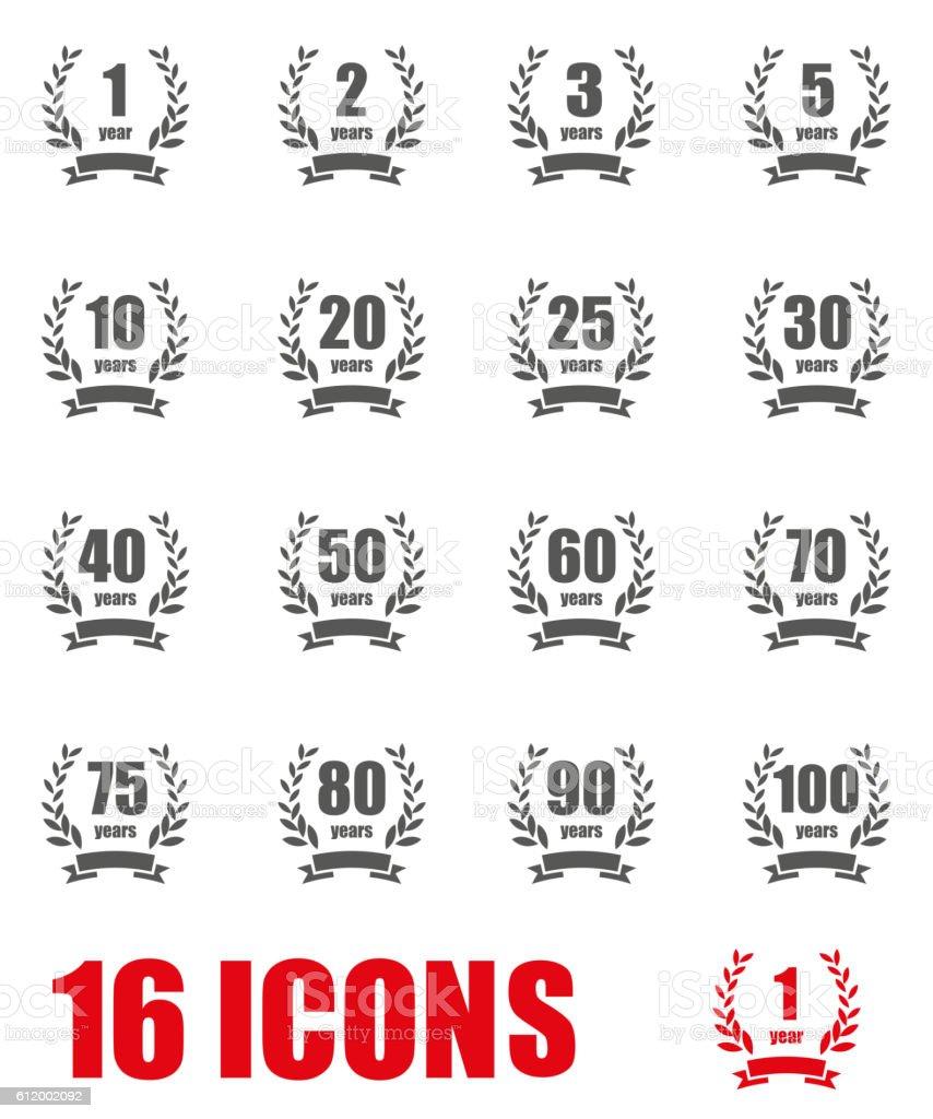 Vector grey Anniversary label collection icon set on white background - ilustración de arte vectorial