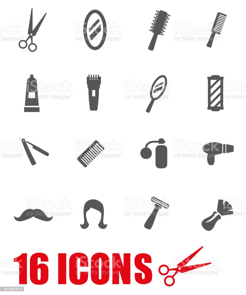 Vector grey barber icon set on white background vector art illustration