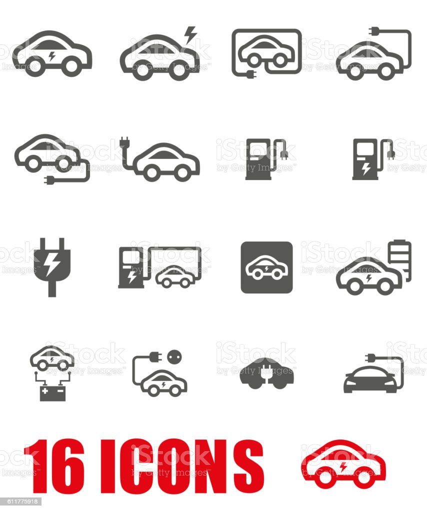 Vector grey electric car icon set on white background vector art illustration