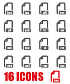 Vector grey file format icon set on white background