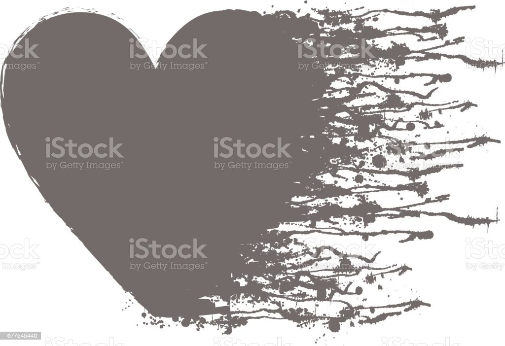 Vector grey graphic grunge illustration of heart sign with ink blot, brush strokes, drops isolated on the white background. Series of artistic illustration with splash, blots and brush strokes. royalty-free vector grey graphic grunge illustration of heart sign with ink blot brush strokes drops isolated on the white background series of artistic illustration with splash blots and brush strokes stock vector art & more images of art