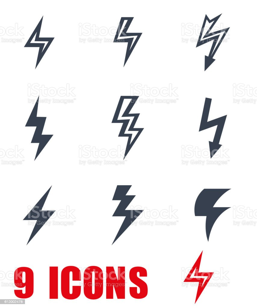 Vector grey Lightning icon set on white background vector art illustration
