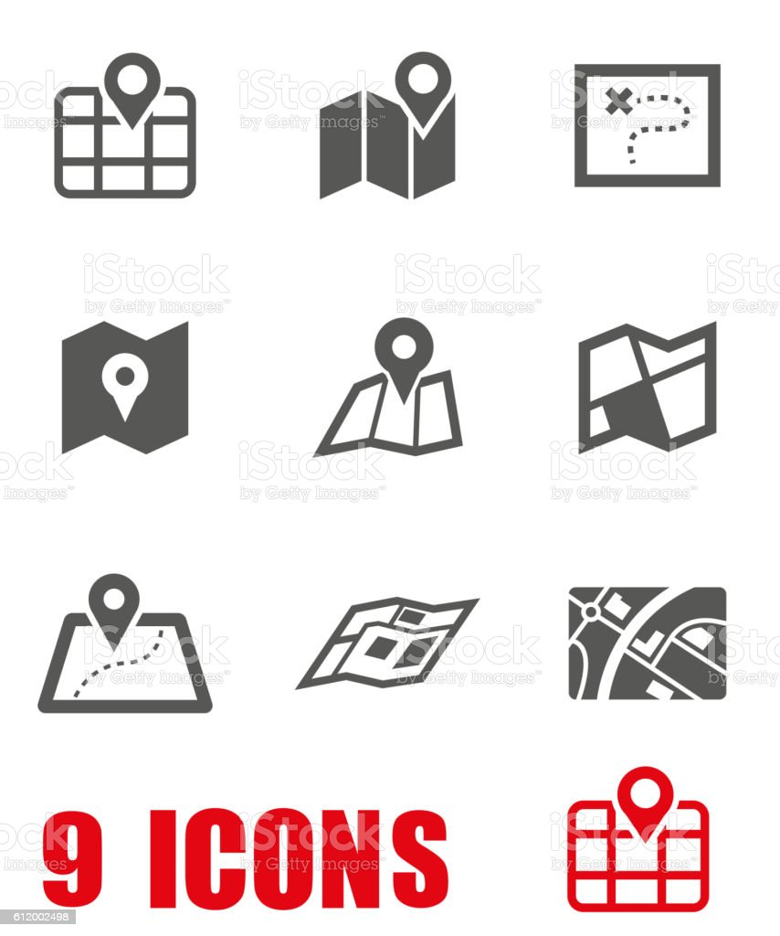 Vector grey map icon set on white background vector art illustration