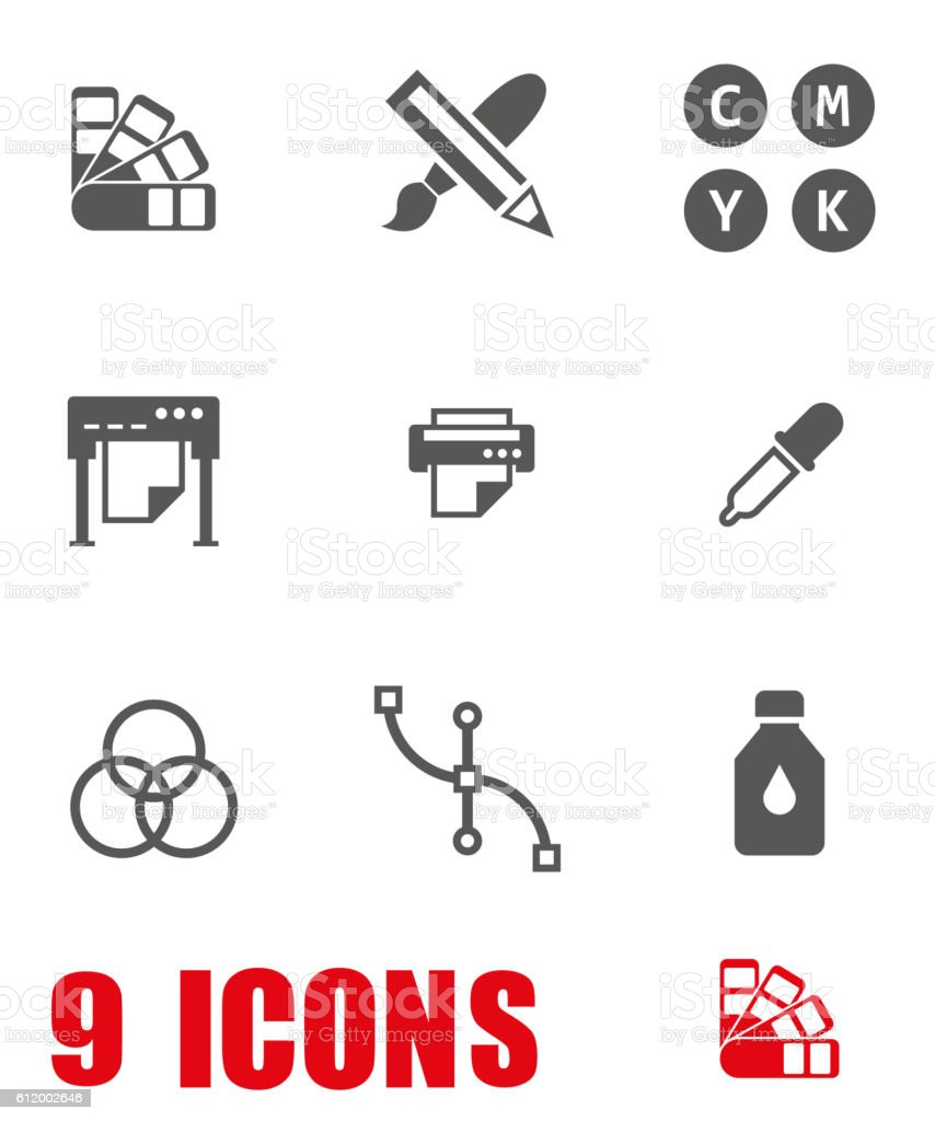 Vector grey Polygraphy icon set on white background vector art illustration