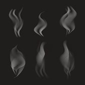 vector grey realistic smoke on black transparent background