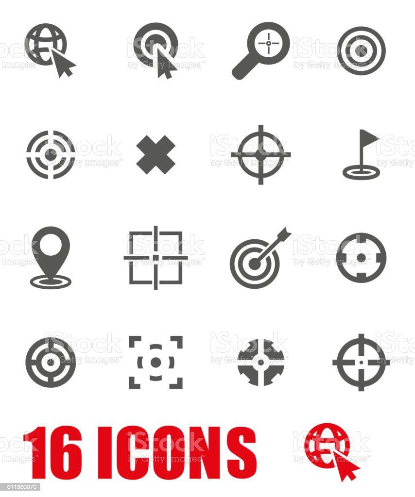 Vector grey target icon set on white background vector art illustration