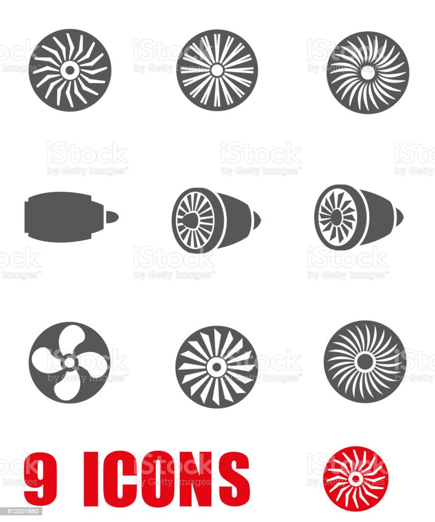 Vector grey turbines icon set on white background vector art illustration