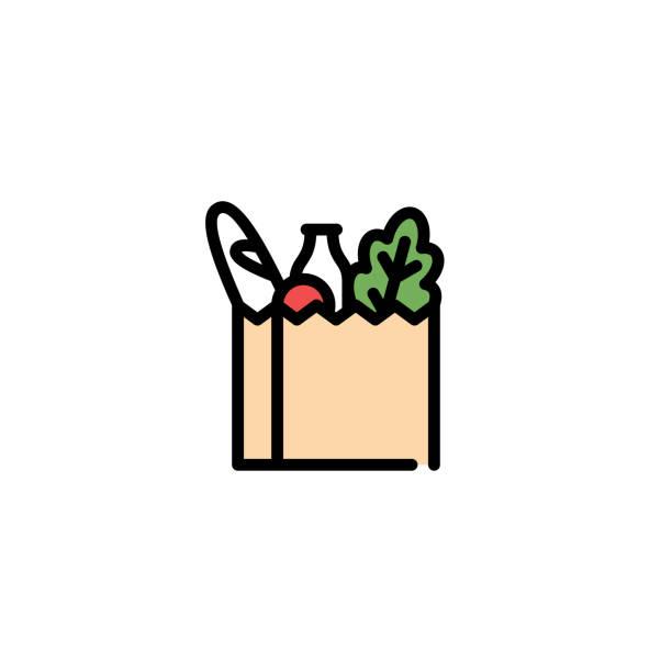 illustrazioni stock, clip art, cartoni animati e icone di tendenza di icona della borsa per alimenti vettoriali - bazar mercato