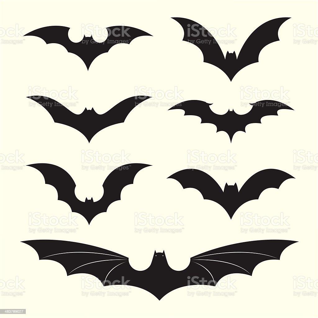 Vector group of bat vector art illustration