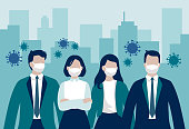 istock Vector group of business workers or enterpreneurs wearing protective face masks standing in front of office buildings surrounded by virus cells - coronavirus pandemic influencing business 1218542647