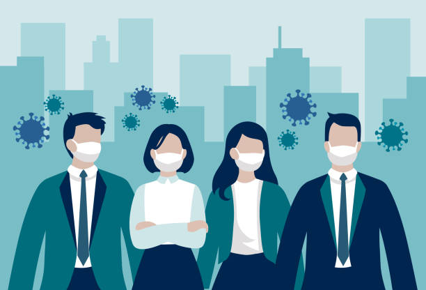 illustrazioni stock, clip art, cartoni animati e icone di tendenza di vector group of business workers or enterpreneurs wearing protective face masks standing in front of office buildings surrounded by virus cells - coronavirus pandemic influencing business - businessman covid mask